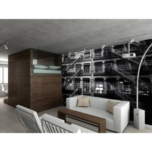 GIANT WALLPAPER WALL MURAL NEW YORK APARTMENT BLOCK BUILDING THEME DESIGN